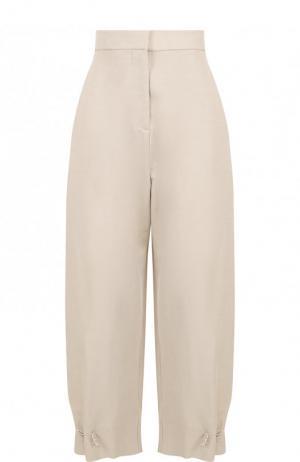 Укороченные брюки из смеси хлопка и льна с карманами Stella McCartney. Цвет: светло-бежевый