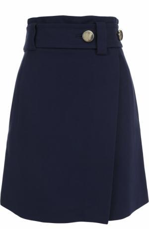 Мини-юбка А-силуэта с широким поясом Tara Jarmon. Цвет: темно-синий