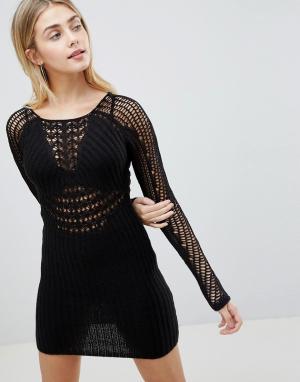 ASOS Ажурное облегающее платье с длинными рукавами DESIGN. Цвет: черный