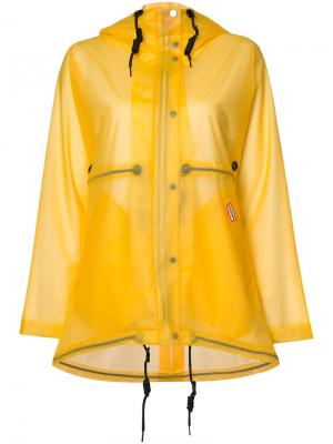 Виниловое прозрачное укороченное пальто Hunter. Цвет: жёлтый и оранжевый