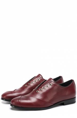 Кожаные ботинки с декором без шнуровки Lanvin. Цвет: бордовый