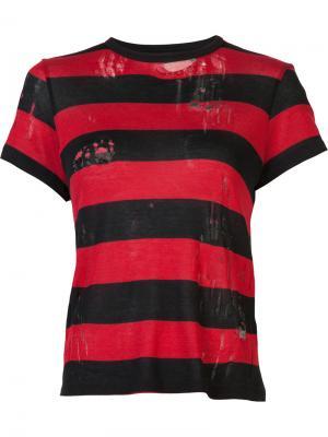 Полосатая футболка с потертой отделкой Amiri. Цвет: красный
