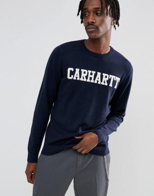Carhartt Джемпер с добавлением овечьей шерсти WIP College. Цвет: темно-синий