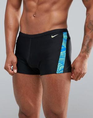 Nike Черные плавки с принтом NESS7115-356. Цвет: черный