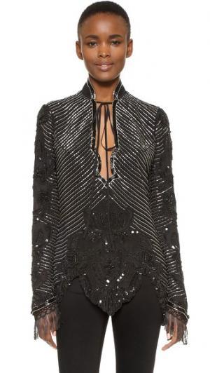 Шелковая блуза, расшитая вручную бисером Rodarte. Цвет: черный/серебристый