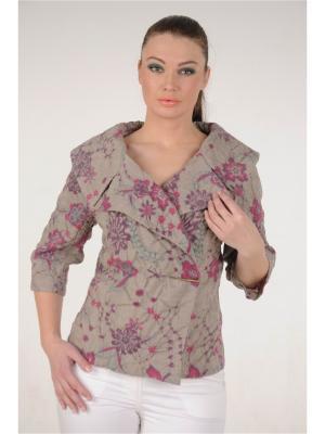 Жакет MONO collection. Цвет: фиолетовый, светло-бежевый, темно-бежевый