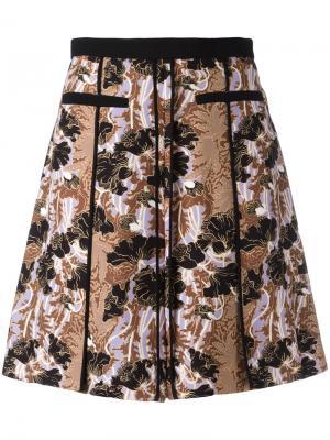 Плиссированная юбка с цветочным узором Carven. Цвет: чёрный