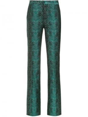 Snakeskin print flared trousers Tufi Duek. Цвет: зелёный