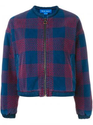 Куртка с вышивкой Selvy Mih Jeans. Цвет: синий