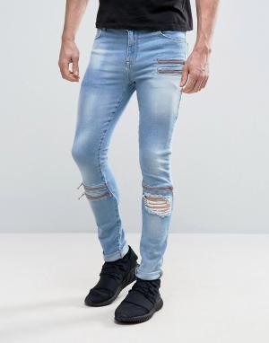 ASOS Выбеленные голубые супероблегающие джинсы с молниями и рваной отделкой. Цвет: синий