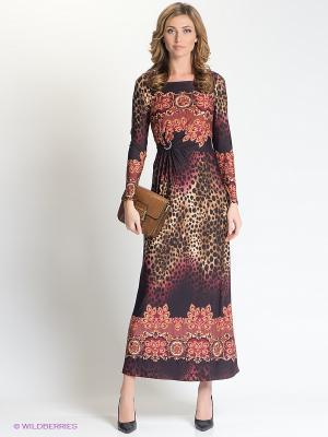 Платье МадаМ Т. Цвет: бордовый, бежевый, красный