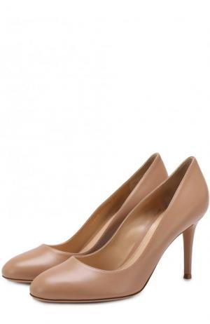 Кожаные туфли Florence 85 на шпильке Gianvito Rossi. Цвет: бежевый
