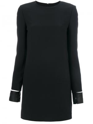 Платье-мини с кожаными манжетами Helmut Lang. Цвет: чёрный