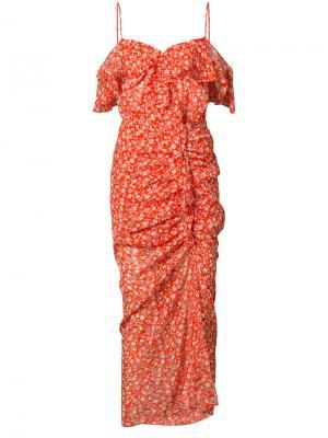 Платье с цветочным узором Veronica Beard. Цвет: красный