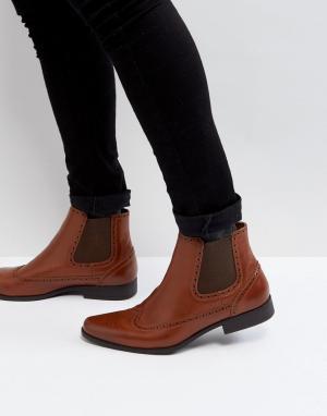 ASOS Светло-коричневые ботинки челси из искусственной кожи. Цвет: рыжий