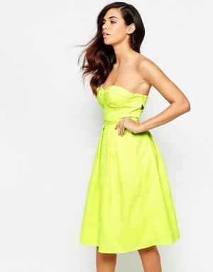 Lashes of London Платье миди для выпускного. Цвет: желтый