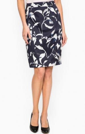 Синяя юбка средней длины с принтом MORE &. Цвет: синий