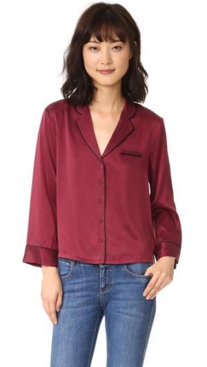 Шелковая пижамная блуза Intropia. Цвет: бордовый