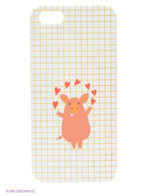 Чехол для IPhone 5 Поросёнок и сердечки Mitya Veselkov. Цвет: белый, желтый