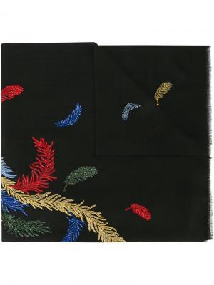 Шарф с вышивкой Janavi. Цвет: чёрный