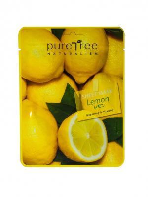 Тканевая маска с экстрактом лимона PURE TREE 20 гр.*5 шт.. Цвет: зеленый, желтый