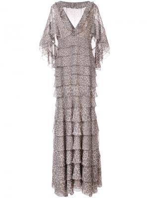 Платье-кейп с леопардовым принтом J. Mendel. Цвет: коричневый