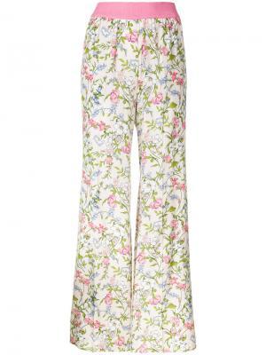 Широкие брюки с цветочным принтом Twin-Set. Цвет: розовый и фиолетовый