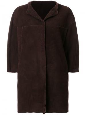 Пальто с укороченными рукавами Salvatore Santoro. Цвет: коричневый
