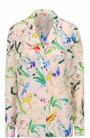 Шелковая блуза в пижамном стиле с цветочным принтом No. 21. Цвет: бежевый