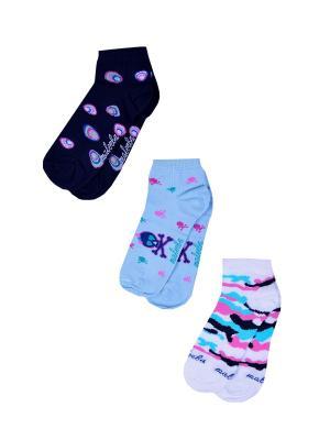 Носки женские,комплект 3шт Malerba. Цвет: синий, белый, розовый