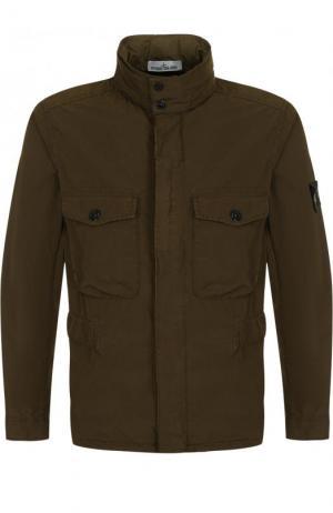 Куртка на молнии с воротником-стойкой Stone Island. Цвет: хаки