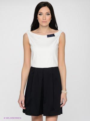 Платье LUIGI FERRO. Цвет: белый, темно-синий