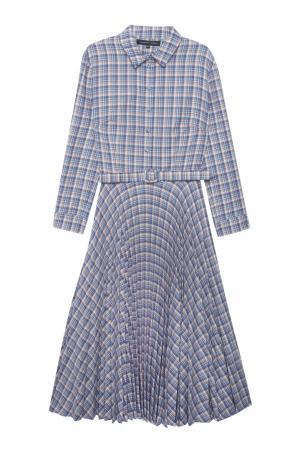 Платье в клетку Alexander Terekhov. Цвет: голубой