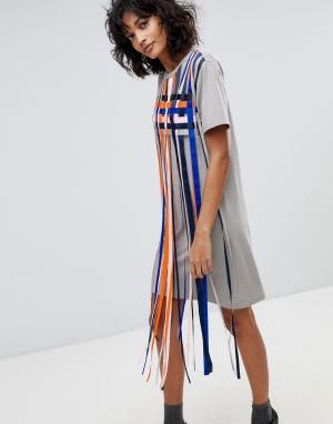 2nd Day Платье-футболка с полосками-кисточками 2NDDAY Mayra. Цвет: мульти