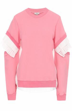 Хлопковый свитшот с плиссированной отделкой Clu. Цвет: розовый
