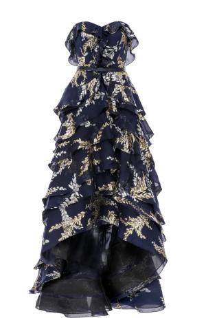 Платье с вышивкой и оборками Oscar de la Renta. Цвет: темно-синий