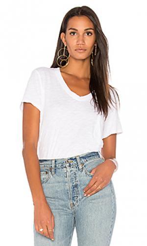 Состаренная футболка с v-образным вырезом Wilt. Цвет: белый
