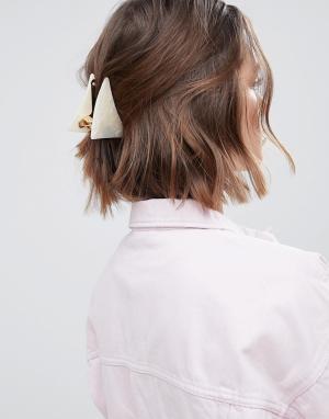 ASOS Большая треугольная заколка для волос DESIGN. Цвет: белый