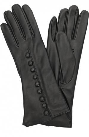 Кожаные перчатки с декоративными пуговицами Sermoneta Gloves. Цвет: черный