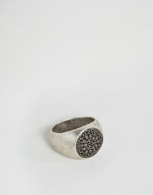 Seven London Серебряное кольцо‑печатка. Цвет: серебряный