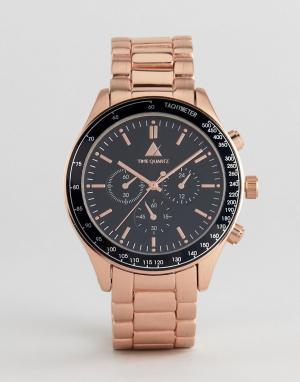 ASOS Наручные часы цвета розового золота с контрастным черным циферблатом A. Цвет: розовый