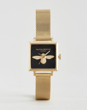 Olivia Burton Часы с квадратным циферблатом и пчелой. Цвет: золотой