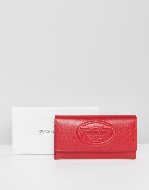 Emporio Armani Кожаный кошелек с тисненым логотипом. Цвет: красный