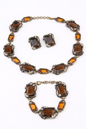 Набор 3 пр. I Pavoni. Цвет: бронза, камни янтарные белые