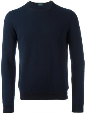 Пуловер с круглым вырезом Zanone. Цвет: синий