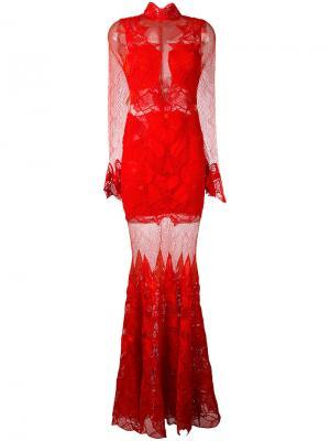 Кружевное прозрачное платье макси Jonathan Simkhai. Цвет: красный