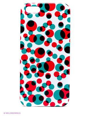 Чехол для IPhone 5 Цветные кружки Mitya Veselkov. Цвет: белый, зеленый, красный, черный