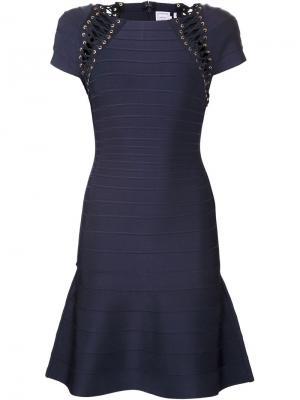 Платье со шнуровкой Hervé Léger. Цвет: синий