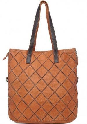 Кожаная сумка с длинными ручками Taschendieb. Цвет: коричневый