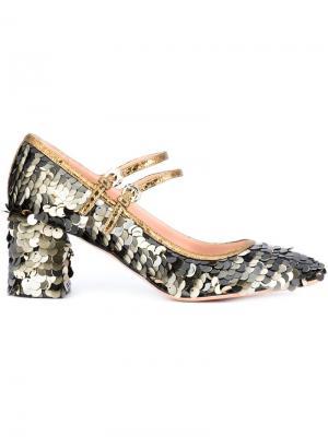Туфли с пайетками Rochas. Цвет: металлический